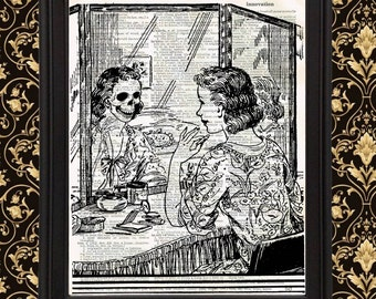 Makeup at Vanity Skull in Mirror Vintage Home Decor gift for her retro Dictionary Page Art Print Scary Gothic Halloween Upcycled Recycled