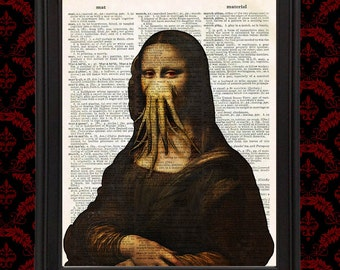 The Mona Lisa Cthulhu's Thrall Leonardo da Vinci Vintage Dictionary Page Weird Wall Art Print HP Lovecraft home decor Upcycled Creepy Cute