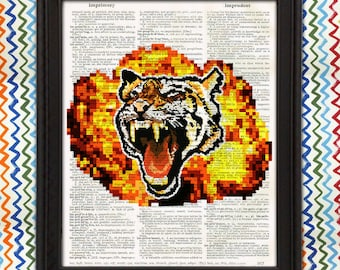 Pixel Art Roaring Tiger with Fireball - Cool Poster, boys room, office decor gift for men 8bit video game tiger print awesome geeky wall art