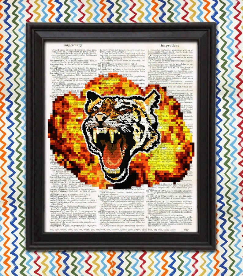 Pixel Art Roaring Tiger mit Feuerball coole Poster jungen | Etsy