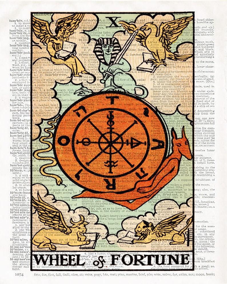 The Wheel of Fortune Tarot Card Art Print Couples Gift Tarot Reading Alchemy Magic Rider Waite Deck Spiritual Art Vintage Tarot Book Print