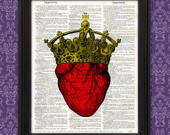 King of Hearts - Gothic Royalty, Anatomical Heart, Gift for her, Gift for Men, Geeky Couples Gift, Victorian Quirky Strange Weird Home Decor