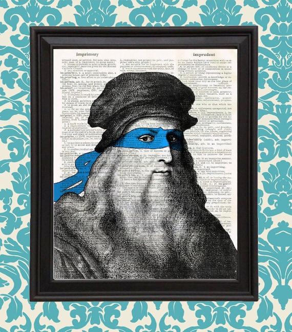 Leonardo Da Vinci Hero In A Halfshell Parody Renaissance Ninja Turtle Mask Home Decor Gift For Boy Gift For Her Dorm Decor Tmnt Wall Art