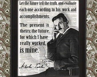 Nikola Tesla Science Poster - Framed Wall Art Quote, Geeky Gift, Electrician Gift, Nerdy Home Decor, gift for men, Science art decor Geekery