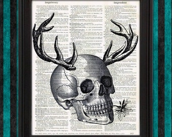 Skull of a Druid with Deer Antlers and Flower, Skeleton print weird cool stuff wall art unique geeky gift for men dungeons and dragons decor