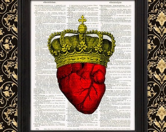 Queen of Hearts - Gothic Royalty, Anatomical Heart, Gift for her, Geeky Couples Gift, Victorian Quirky Strange Weird Home Decor His and Hers