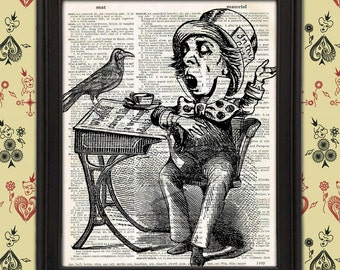 The Mad Hatter, a Raven, and a Writing Desk Wonderland home decor Lewis Carroll John Tenniel Upcycled Vintage Dictionary Page Wall Art Print