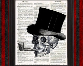 Dead Gentleman with Top Hat and Smoking Pipe - halloween home decor, unique gift for men, weird stuff, man cave, office decor scary wall art