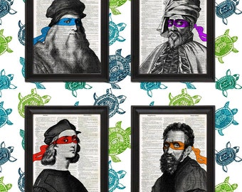 4 Print Pack Leonardo, Donatello, Raphael, Michelangelo, Heroes in a Halfshell parody Renaissance Ninja Turtle mask tmnt Home Decor wall art