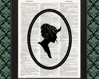 Silhouette Cameo Victorian Lady with Devil Horns gift for her living room decor unique weird stuff Upcycled Vintage Dictionary Page Print