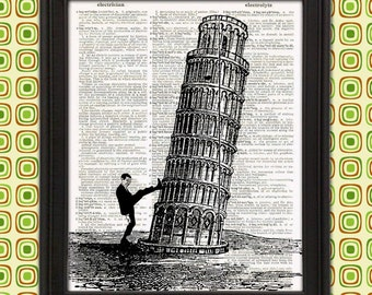 High Kicking Leaning Tower of Pisa - office wall art Italian decor funny gag gift for men mr bean weird stuff martial arts christmas gift