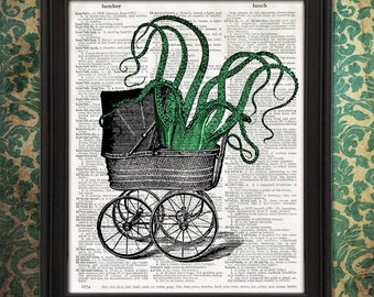 Tentacles in Baby Carriage - Kids room decor, gift for mom, weird stuff Octopus Wall Decor Nursery decor Zoo animal art HP Lovecraft Cthulhu