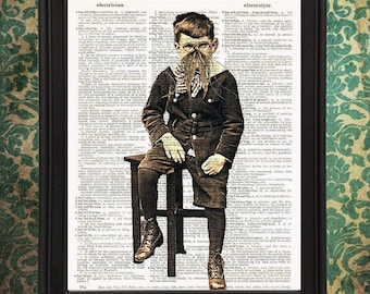 Cranky Cthulhu Boy with Glasses Victorian Photograph home decor Vintage Dictionary Page Art Print Halloween HP Lovecraft Upcycled Recycled