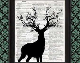 Stag with Tree Branch Antlers and Flowers Silhouette Illustration enchanted elven forest nature art print fantastic beast, fairy tale, druid