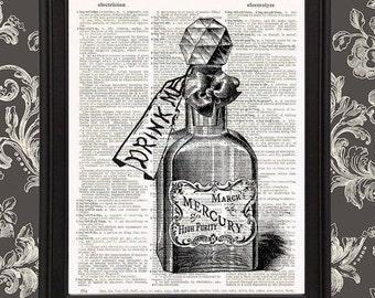Bottle of Mercury with Drink Me tag - Alice in Wonderland Lewis Carroll John Tenniel Wonderland decor, drink me bottle, victorian home decor
