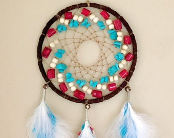 Native American Dreamcatcher - Buckskin - Buffalo Bone - Turquoise - Sage Blessed - Authentic Native American