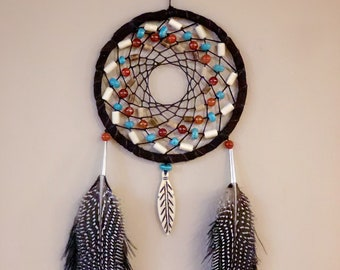 Dreamcatcher - Authentic Native American - Buckskin - Buffalo Bone - Fire Agate - Turquoise