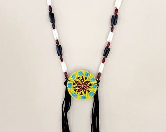 Beaded Medallion Necklace - Breastplate - Native American - Sage Blessed - Buffalo Bone & Horn Beads - Handmade - Lakota - Powwow - (ww126)