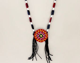 Beaded Medallion Necklace - Authentic Native American - Sage Blessed - Buffalo Horn & Bone Beads - Lakota - Sioux - (ww127)