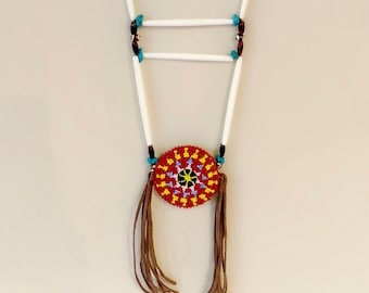 Native American Beaded Medallion Necklace - Breastplate Necklace - Sage Blessed - Buffalo Horn & Bone Beads - Buckskin - (ww120)