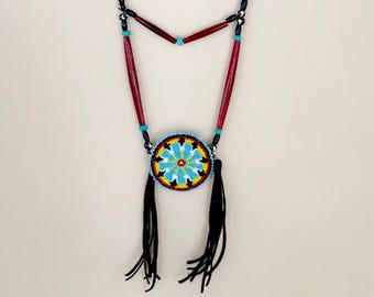 Beaded Medallion Necklace - Authentic Native American - Sage Blessed - Lakota Beadwork - Buffalo Horn - Turquoise - (ww122)