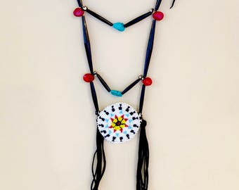 Native American Beaded Medallion Necklace - Sage Blessed - Buffalo Horn & Bone Beads - Red Coral Turquoise - (ww118)