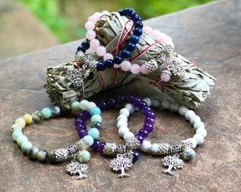 Genuine Crystal Bracelets - Tree of Life - Diffuser Bracelet - Rose Quartz - Amazonite - Lapis Lazuli - Amethyst - White Howlite - Chakras