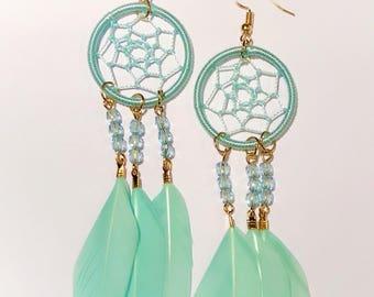 Dreamcatcher Earrings - Light Blue Color - Natural Feathers - Handmade - Native American - Boho Earrings