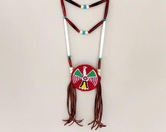 Beaded Medallion Necklace - Breastplate - Native American - Buffall Horn - Buffalo Bone - Turquoise - Sage Blessed - Lakota - (ww124)