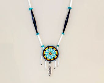 Native American Beaded Medallion Necklace - Dentalium Shells - Buffalo Bone Carved Feather - Buffalo Horn Beads - Sage Blessed - (ww117)