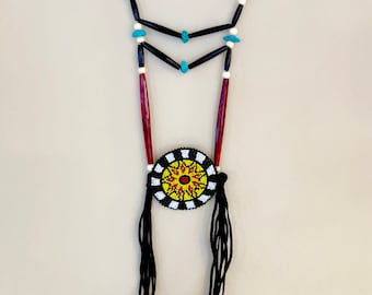 Beaded Medallion Necklace - Native American - Sage Blessed - Breastplate - Handmade - (ww112)