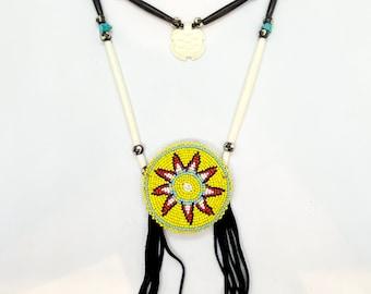 Native American Beaded Medallion Necklace - Handmade - Sage Blessed - Buffalo Bone - Buffalo Horn - Glass Beads - Buckskin - (ww128)