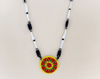 Native American Beaded Medallion Necklace - Buffalo Bone - Dentalium Shell Necklace - Authentic Native American - Native Beadwork - (ww102)