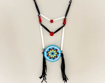 Beaded Medallion Necklace - Native American - Sage Blessed - Buffalo Bone & Horn Beads - Red Coral - Adjustable Length - (ww105)