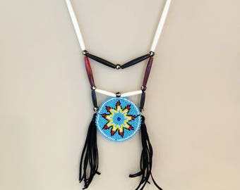 Beaded Medallion Necklace - Native American - Buffalo Bone & Horn Beds - Buckskin Fringe - Adjustable Size - (ww114)