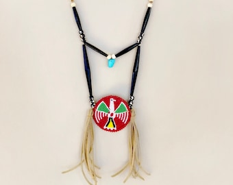 Native American Beaded Medallion Necklace - Elk Tooth - Buffalo Horn & Buffalo Bone Beads - Sage Blessed - (ww106)