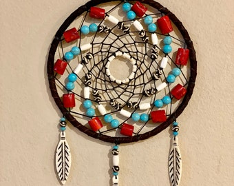 Native American Dreamcatcher - Sage Blessed - Buckskin - Buffalo Bone Beads