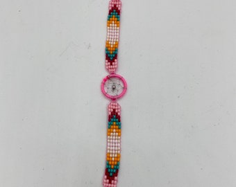 Beaded Dreamcatcher Bracelet - Light Pink
