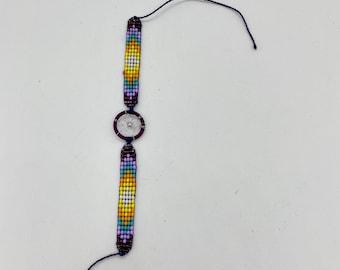 Beaded Dreamcatcher Bracelet- Purple