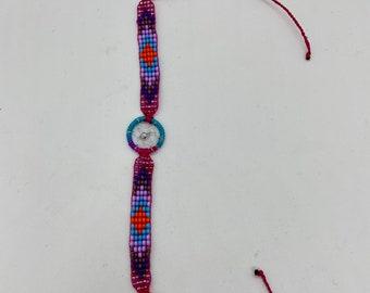 Beaded Dreamcatcher Bracelet - Light Purple - Handmade