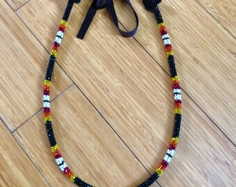 Native American Beaded Necklace - Beaded Rope Necklace - Black Red Orange Yellow - Buckskin Tie - Adjustable