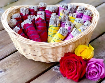 Organic White Sage & Rose Smudge - Sold Individually - Red - Yellow - Purple