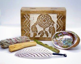 Dreamcatcher Boxed Smudge Kit - Hand Carved Box - White Sage - Sweetgrass - Palo Santo - Abalone - Smudge Feather - Gift Set