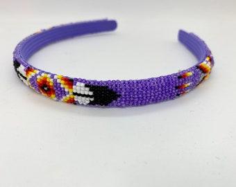 Native American Beaded Headband Purple Handmade