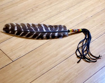 Beaded Smudge Feather - Turkey Feather - Beadwork - Native American - Buckskin Fringe
