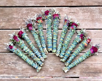 Eucalyptus Sage Lavender and Rose Smudge Stick - Sold Individually - Native American