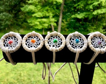 Dreamcatcher Bracelet - White Leather - Wood Bead - Native American Jewelry - Sage Blessed - Boho Bracelet - Native American Dreamcatcher