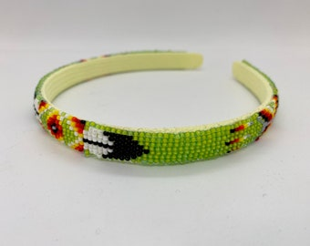 Native American Beaded Headband Green Handmade