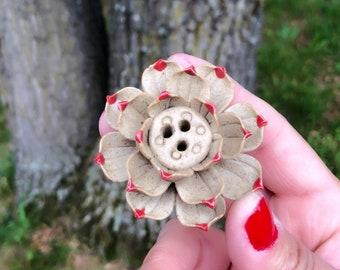 Natural Ceramic Incense Burner - Handmade Incense Burner for Sticks and Cones - Brown and Red - Lotus