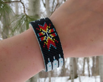 Native American Beaded Cuff Bracelet - Buckskin Suede - Adjustable Size Cuff - Glass Beads - Native American Beadwork - Powwow Jewelry